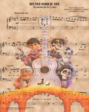 Coco, Remember Me Cast Sheet Music Art Print