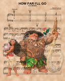 Moana, Maui and Friends, How Far I'll Go Sheet Music Art Print