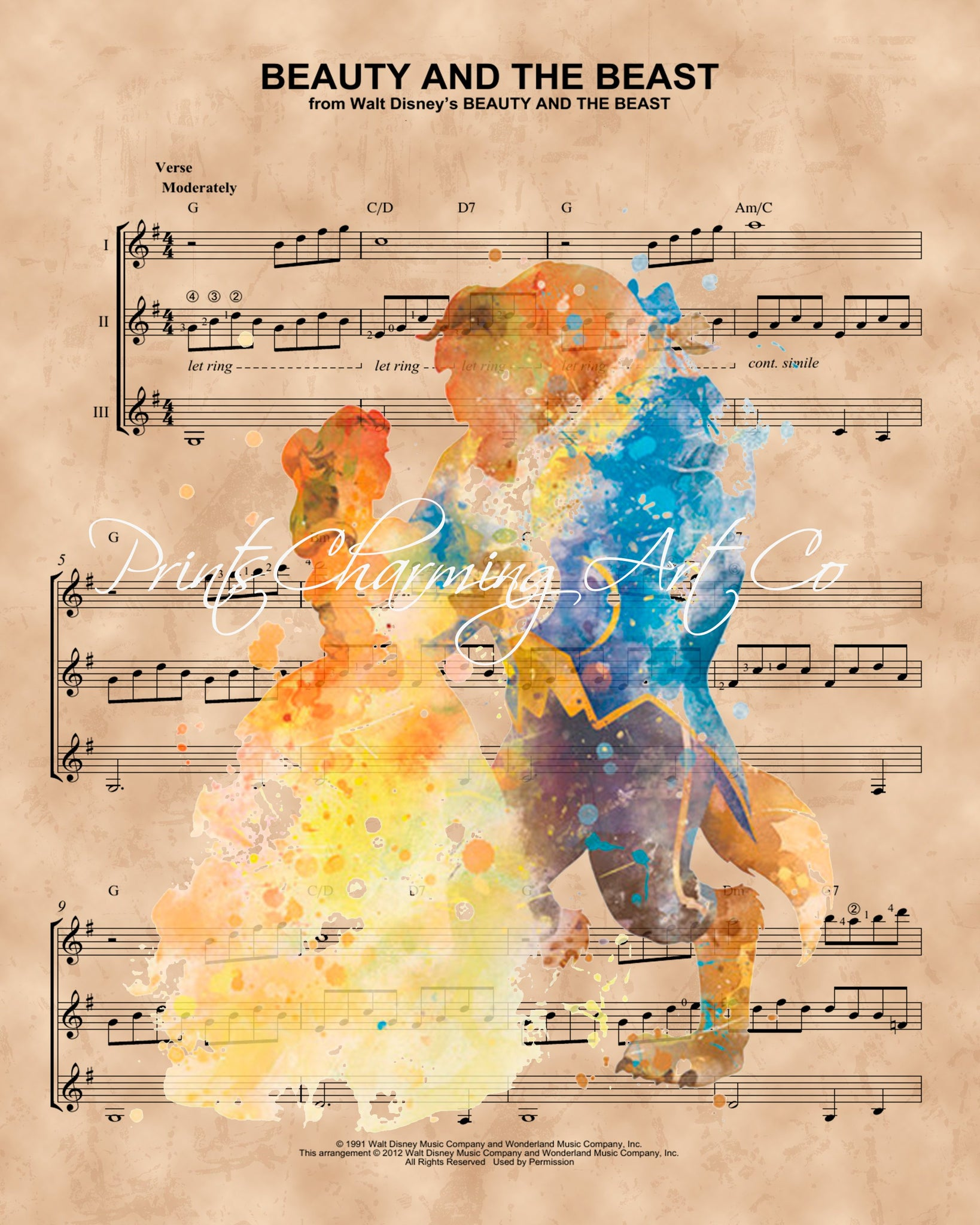 ... Beauty and the Beast Watercolor, Sheet Music Print