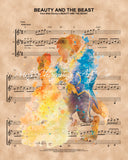 Beauty and the Beast Watercolor, Sheet Music Print