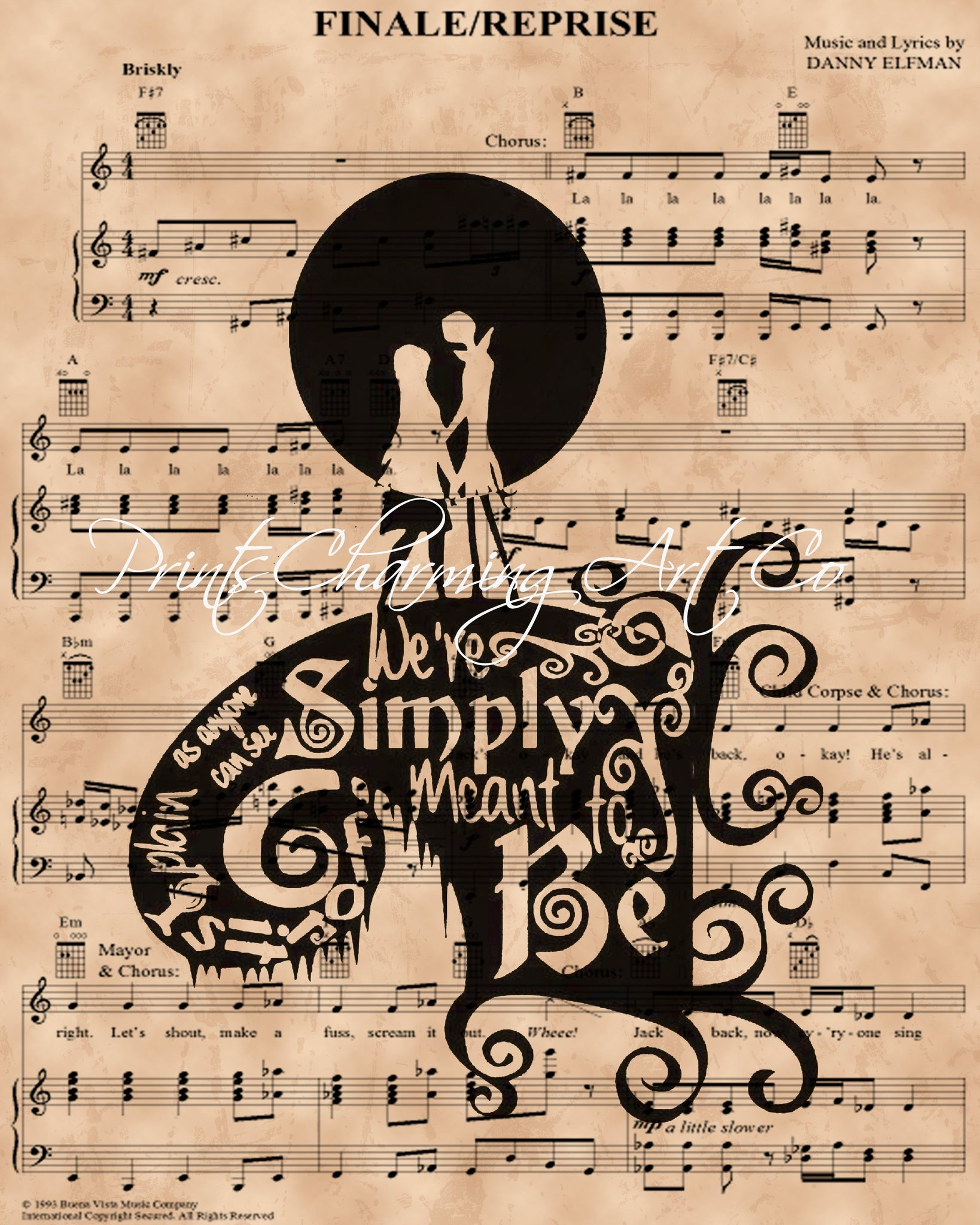 Nightmare Before Christmas, Simply Meant to Be Sheet Music Art Print ...