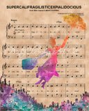 Marry Poppins, Watercolor Silhouette Sheet Music Art