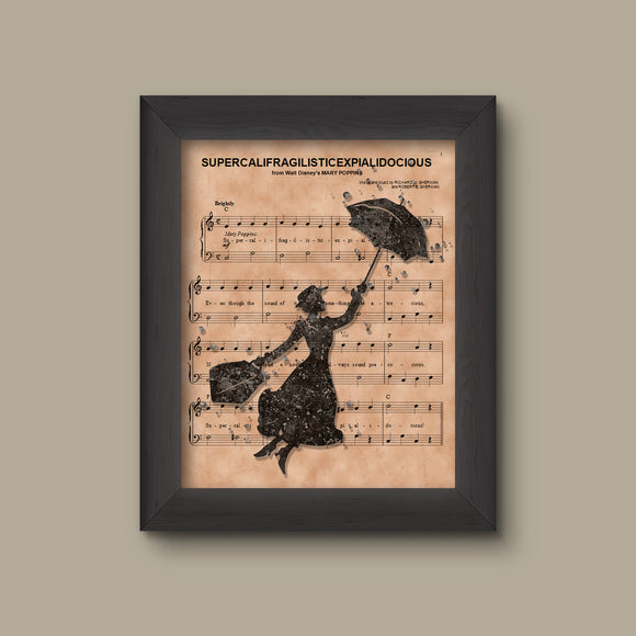Disney Mary Poppins Gift,  Marry Poppins Silhouette Sheet Music Art