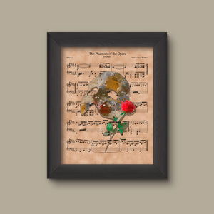 Phantom of the Opera Sheet Music Art Print, Phantom Gift