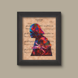 Disney Star Wars Theme Sheet Music Art Print, Darth Vader Silhouette