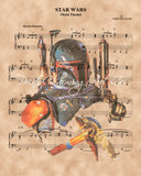 Star Wars, Boba Fett Sheet Music Art Print