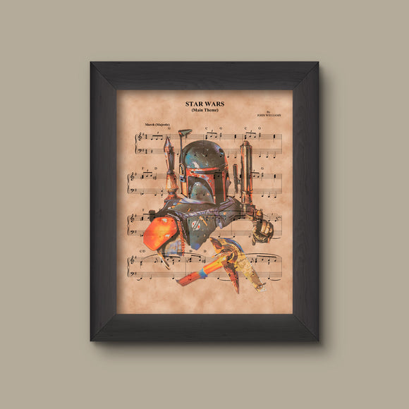 Disney Star Wars Theme Sheet Music Art Print, Boba Fett
