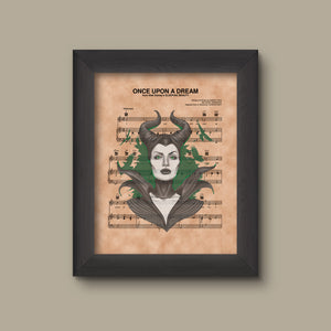 Disney Sleeping Beauty Maleficent Sheet Music Art, Sleeping Beauty Gift