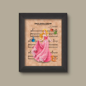 Disney Aurora Sleeping Beauty Sheet Music Art, Sleeping Beauty Gift