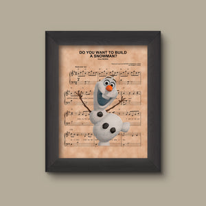 Disney Frozen, Olaf Do You Want To Build A Snowman Sheet Music Art Print