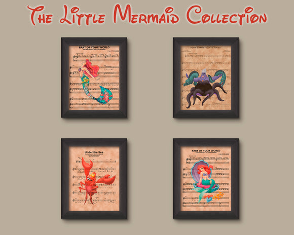 Disney Little Mermaid Collection Sheet Music Art Print Set, Little Mermaid Gift
