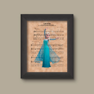 Disney Frozen, Elsa Let It Go Sheet Music Art Print