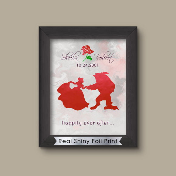 Disney Beauty and the Beast Couples Gift, Belle Beast Art Print
