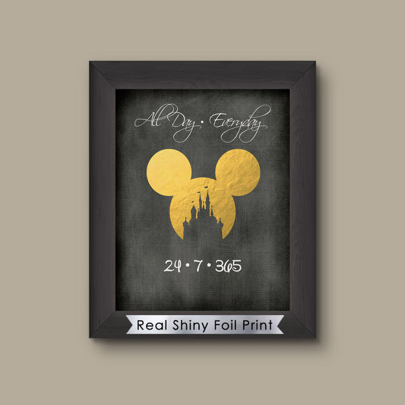 All Day Everyday Art Custom Couple Names Love Disney Print Mickey Ears, Disney Print Foil