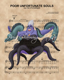Little Mermaid, Ursula with Flotsam and Jetsam Sheet Music Art Print