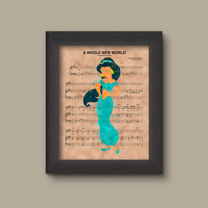Aladdin Jasmine Watercolor A Whole New World Sheet Music Art Print