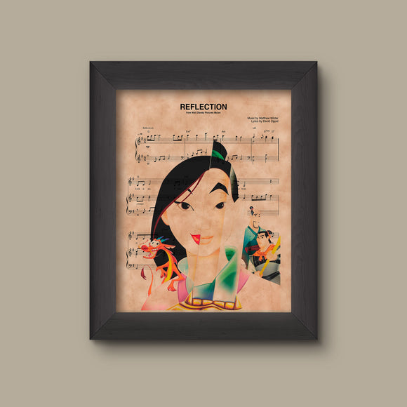 Mulan Reflection Sheet Music Art Print