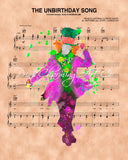Alice in Wonderland, Mad Hatter Watercolor The Unbirthday Song Sheet Music Art Print