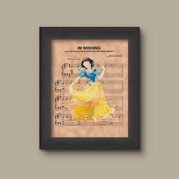 Snow White Watercolor Im Wishing Sheet Music Art Print