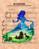 Snow White Silhouette Im Wishing Sheet Music Art Print