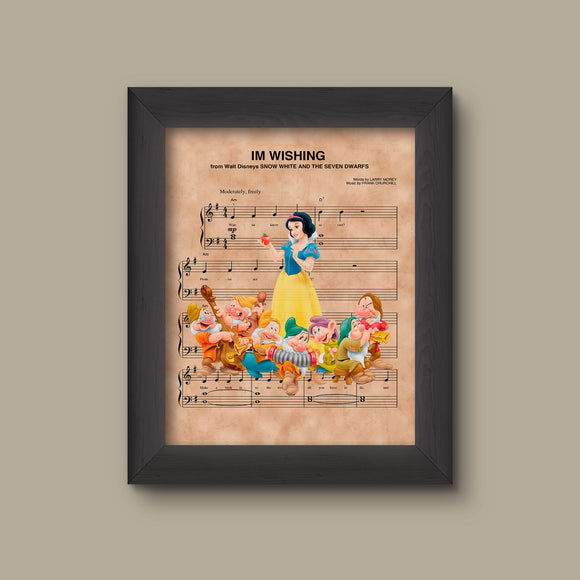 Snow White and the Seven Dwarfs Im Wishing Sheet Music Art Print