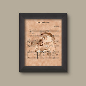 Lion King Simba Silhouette Circle of Life Sheet Music Art Print