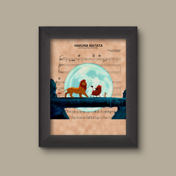 Lion King Simba Timon and Pumba Hakuna Matata Sheet Music Art Print