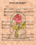 Beauty and the Beast Rose Sheet Music Art Print