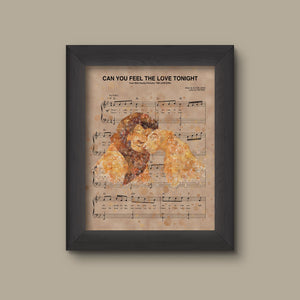 Lion King Simba Nala Watercolor Can You Feel The Love Tonight Sheet Music Art Print