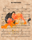 Lion King Scar Watercolor Be Prepared Sheet Music Art Print