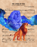 Lion King Mufasa Cloud & Simba, He Lives In You Sheet Music Art Print
