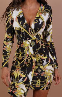 Black Scarf Print Wrap Bodycon Dress – Fleur