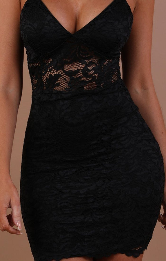 Black Lace Bodycon Mini Dress - Ashlynn
