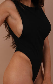 Black Open Back Bodysuit - Carrie