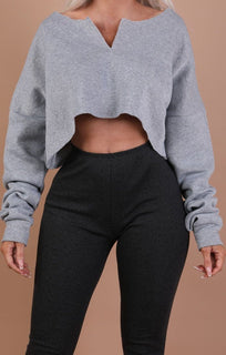 Grey Raw Hem V Cut Cropped Sweater Jumper – Ari