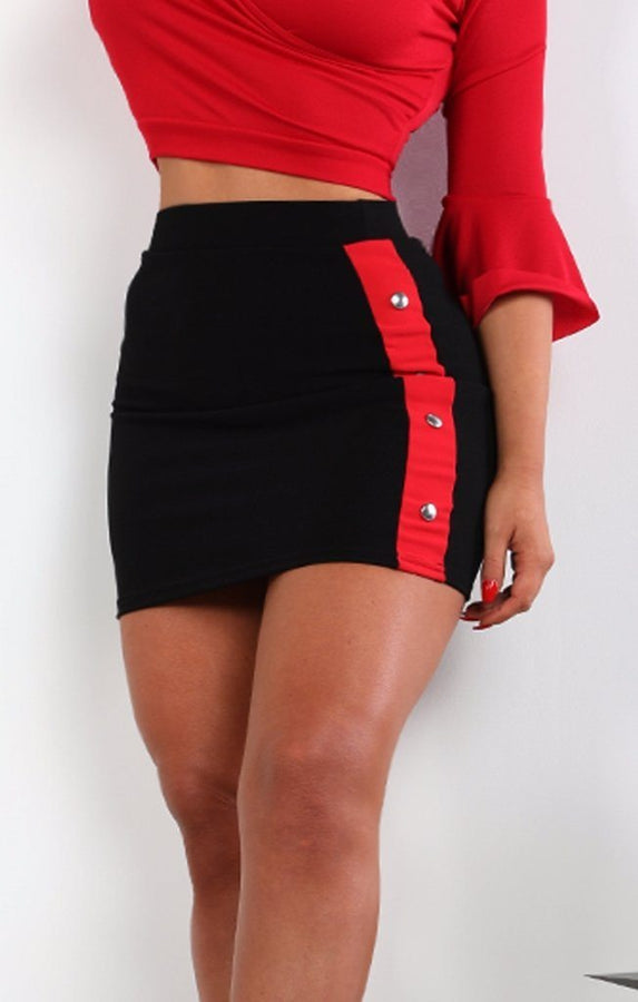 Black Red Popper Detail Mini High Waist Skirt