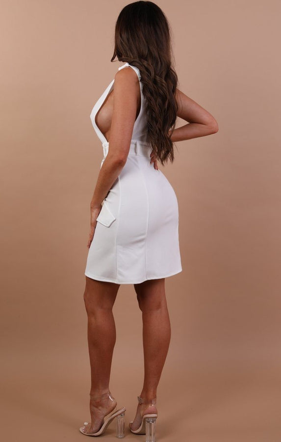 Cream Sleeveless Belted Blazer Dress - Kinsley