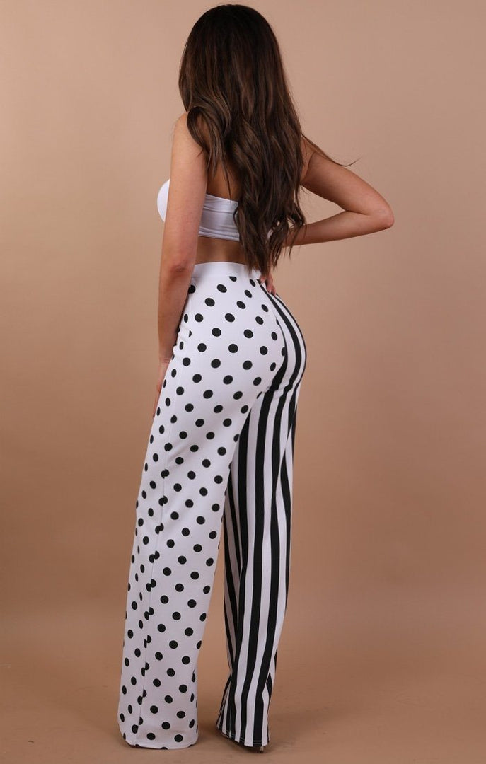 Black And White Spot And Stripe Trousers - Anita