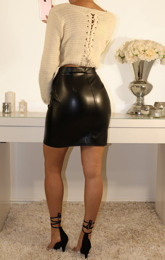 Black Faux Leather High Waist Skirt