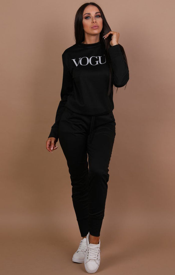 Black Vogue Print Loungewear Set - Miley