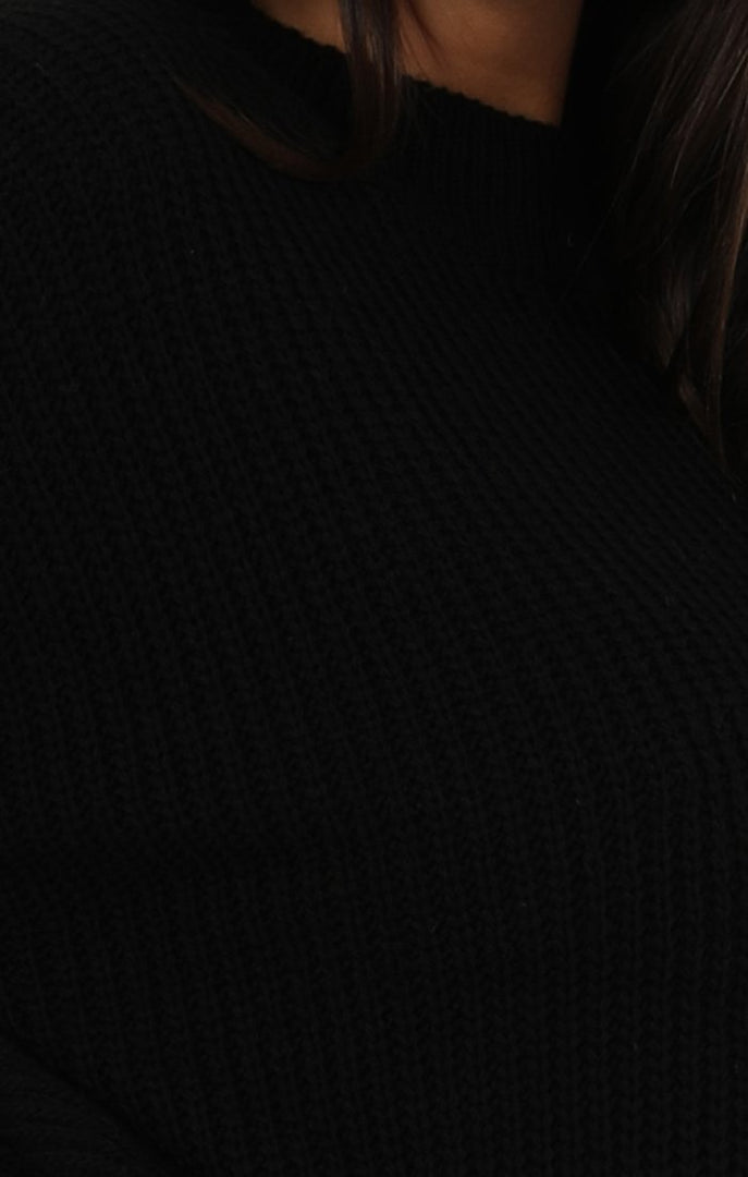 Black Oversized Split Side Knitted Jumper - Lore