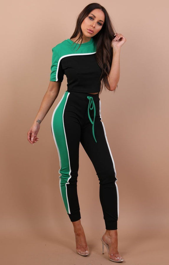 Green Stripe Loungewear Set – Sophia