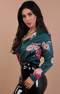 Green Floral Satin Shirt – Rachel