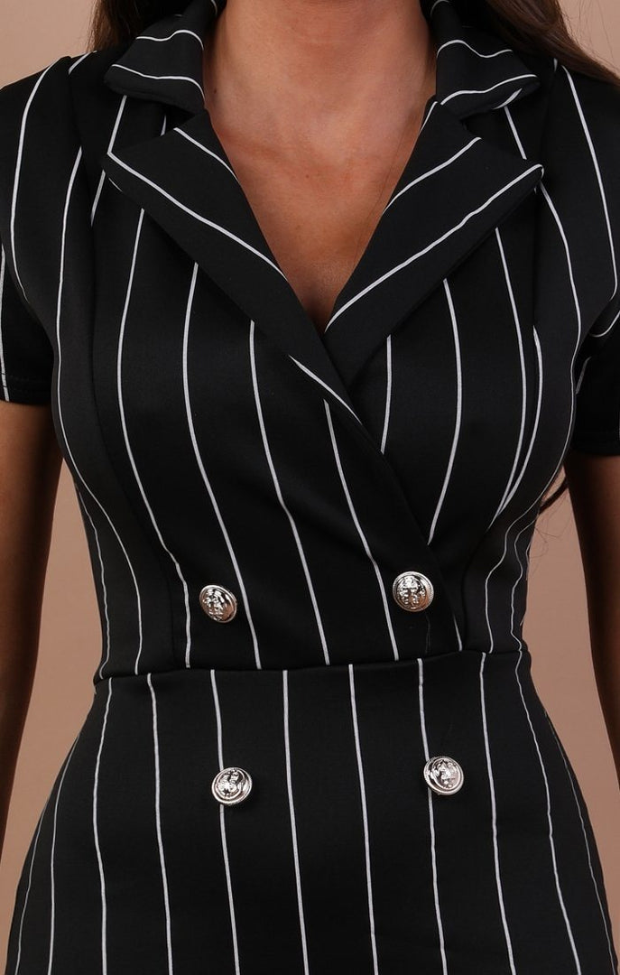 Black Striped Bodycon Blazer Dress - Mariah