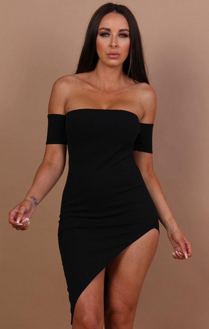 Black Off The Shoulder Short Sleeve Dress - Camila
