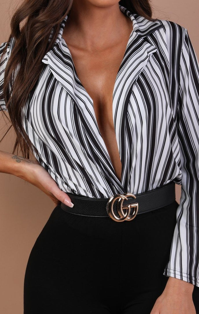 Black And White Stripe Plunge Flare Bodysuit – Casey
