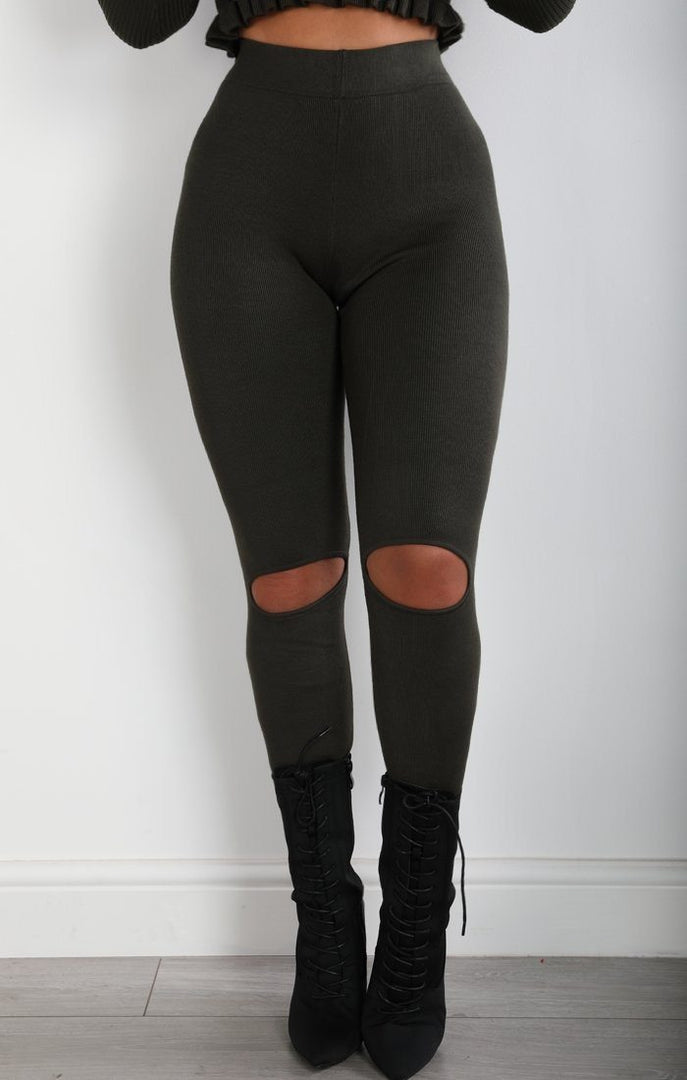 Khaki Split Knee Leggings