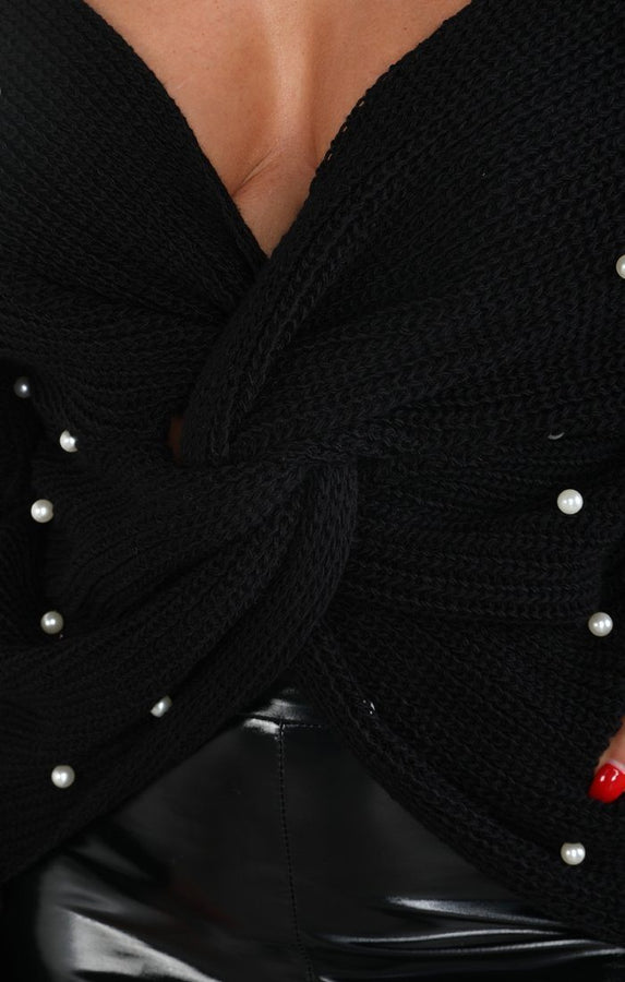Black Pearl Front Wrap Knitted Jumper