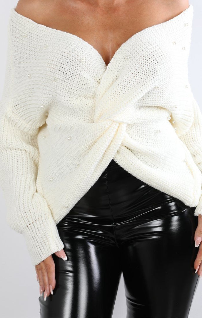 Cream Pearl Front Wrap Knitted Jumper