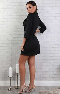 Black Cropped Sleeve Blazer Dress - Demi